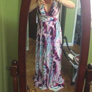 Aidan Mattox tie dye maxi dress size 0